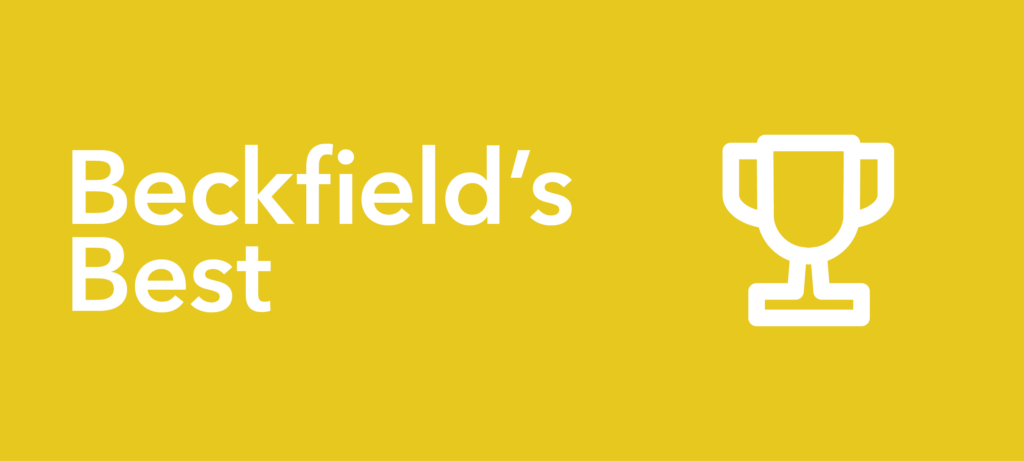"""yellow background with text """"Beckfield's Best"""" and an illustration of a trophy"""